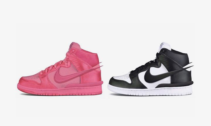 Pink and black and white mock ups of Ambush x Nike Dunk High