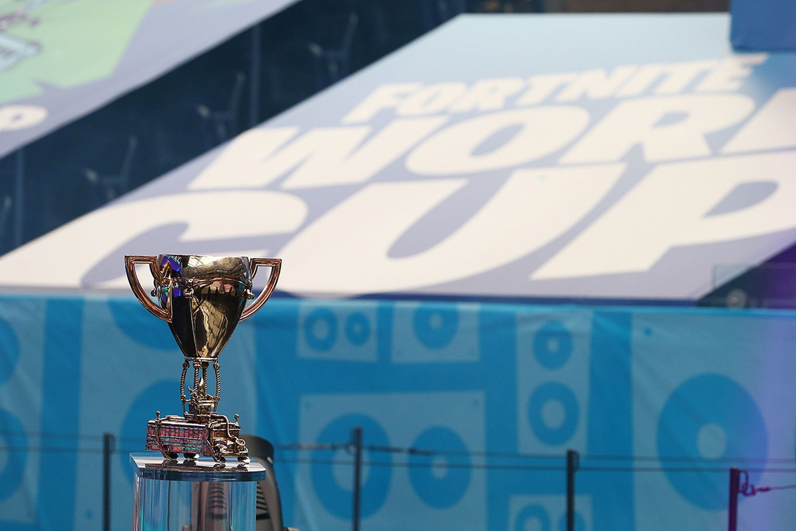 The Fortnite World Cup trophy is seen during the Final round at Arthur Ashe Stadium