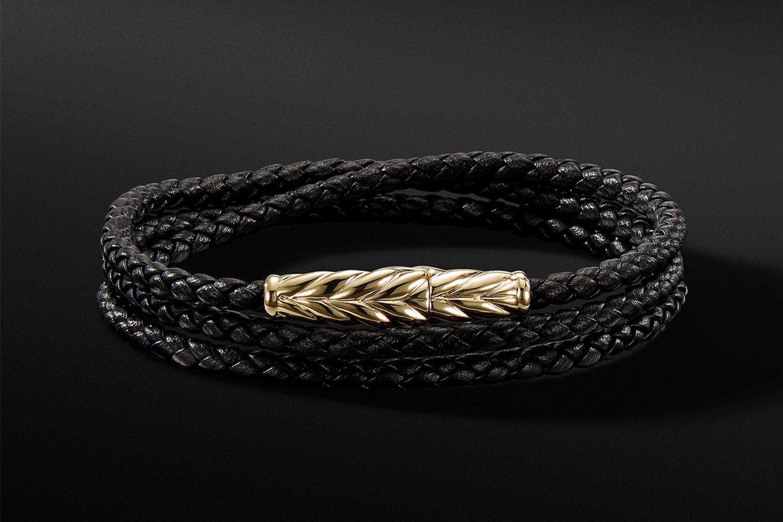 Chevron Triple-Wrap Bracelet in Black & 18K Gold