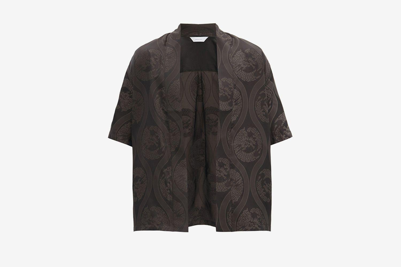 Haori Dragon-Print Short-Sleeved Shirt