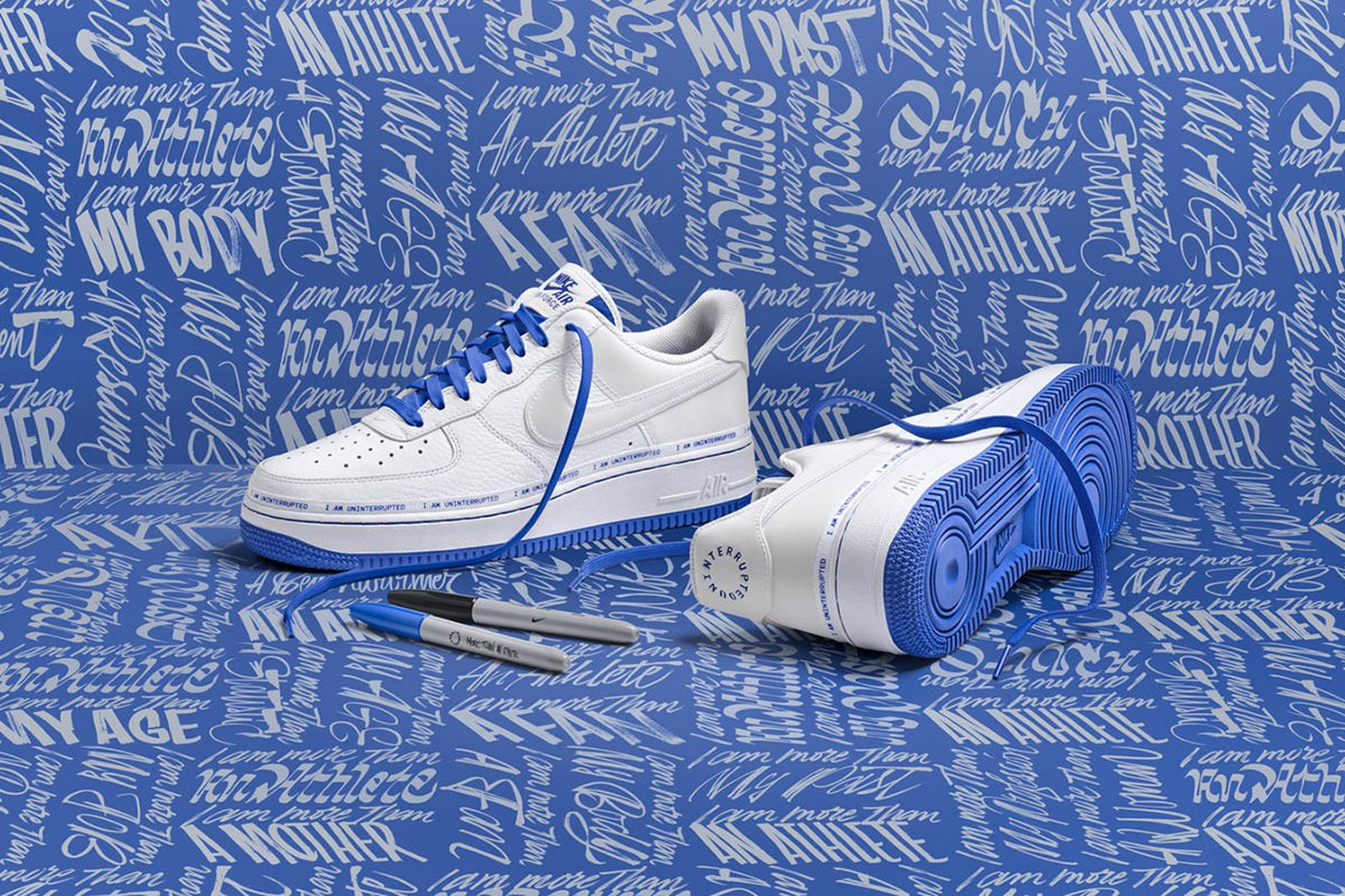 air force 1 uninterrupted and markers on blue background