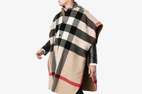 Reversible Wool Check Poncho