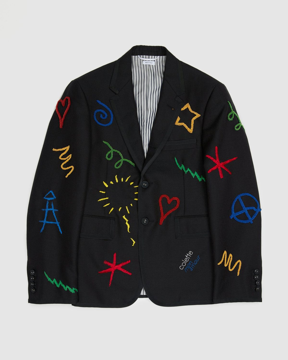 Colette Mon Amour x Thom Browne — Black Embroidered Tux Suit - Image 3