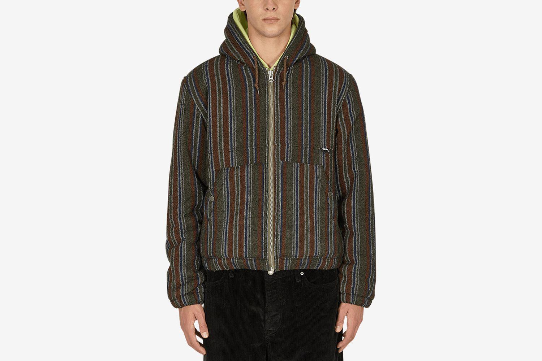 Striped wool work jacket