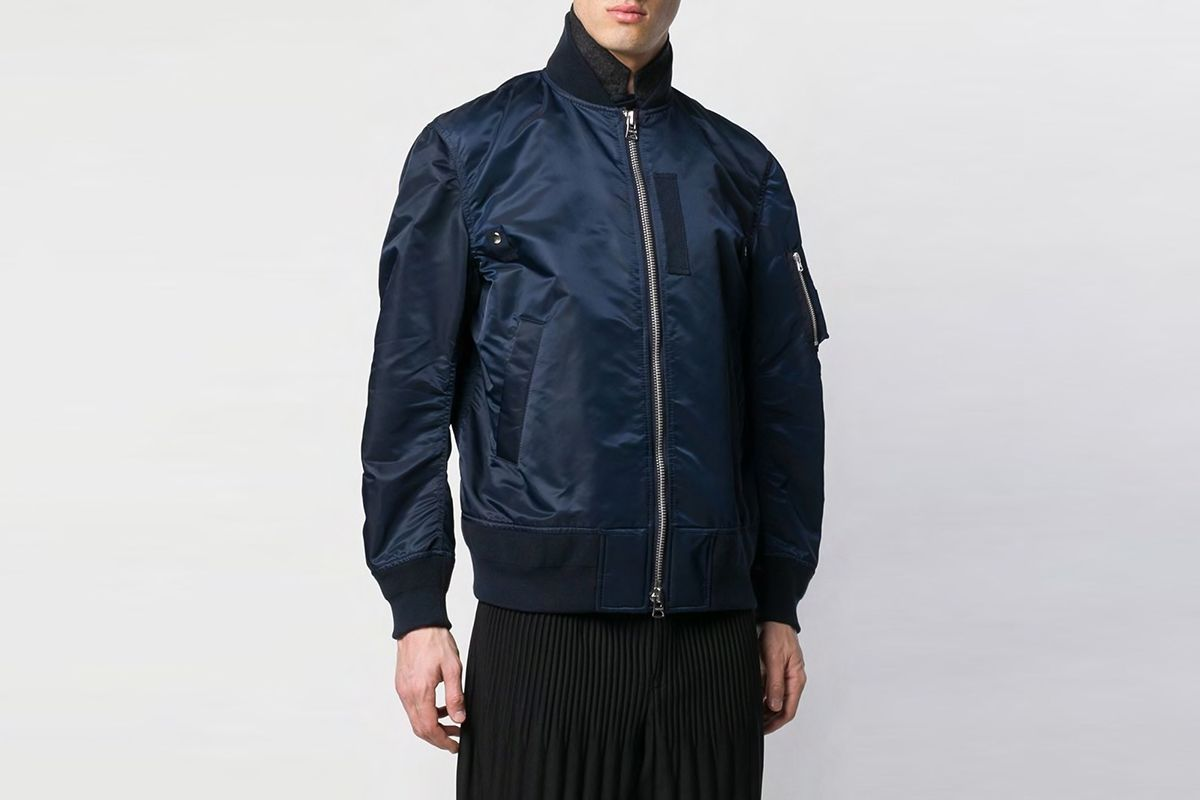 Sacai - layered bomber jacket - men - Polyurethane/Cotton/Cupro - 3, 2 - Blue