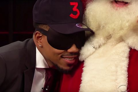 Chance the Rapper nuzzles Santa