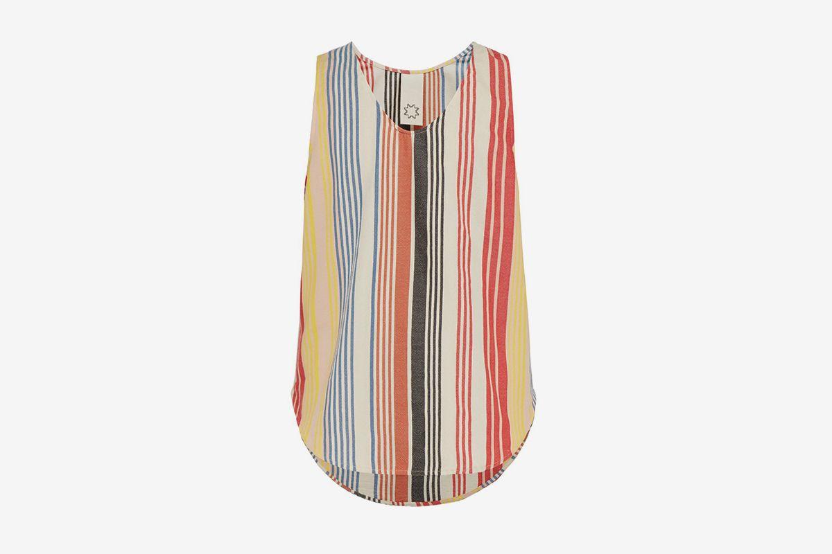 Striped Cotton Blend Tank Top