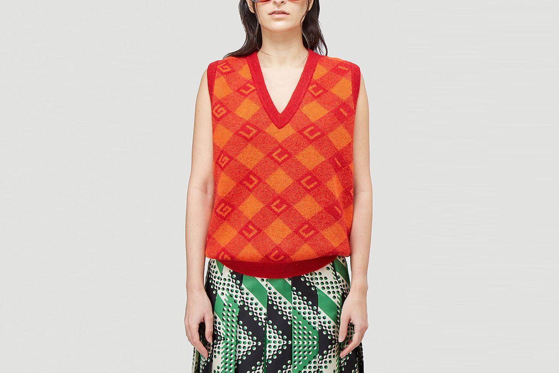 Check V-Neck Knitted Vest