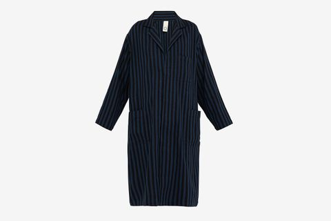 Striped Cotton Blend Lab Coat