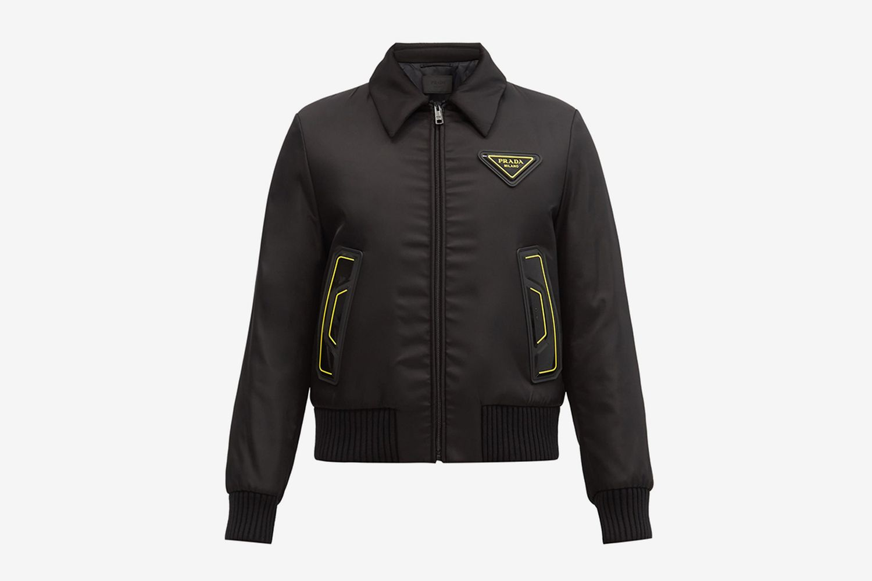 Triangle Logo-Patch Padded-Shell Bomber Jacket