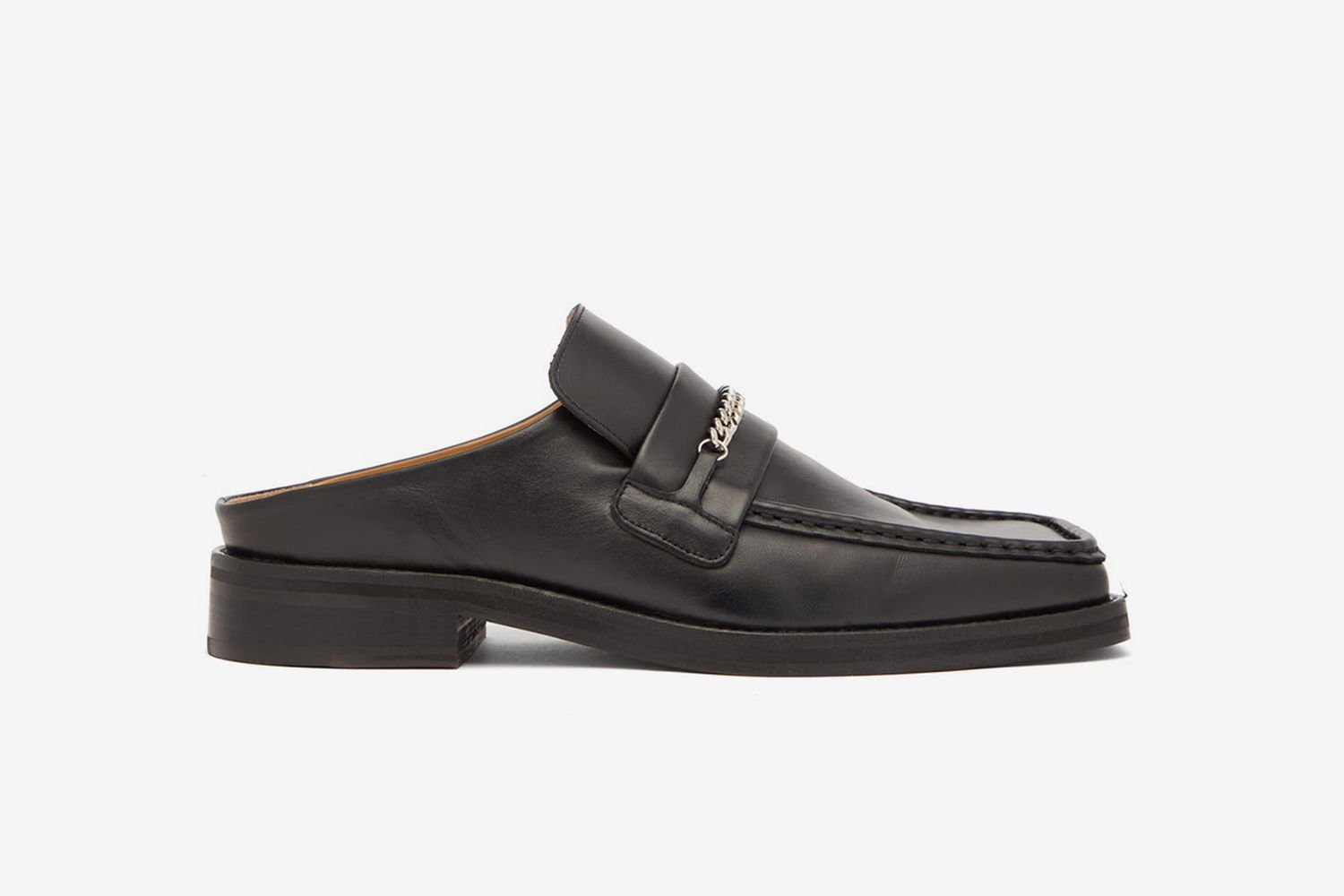 Curb-Chain Square-Toe Leather Mules