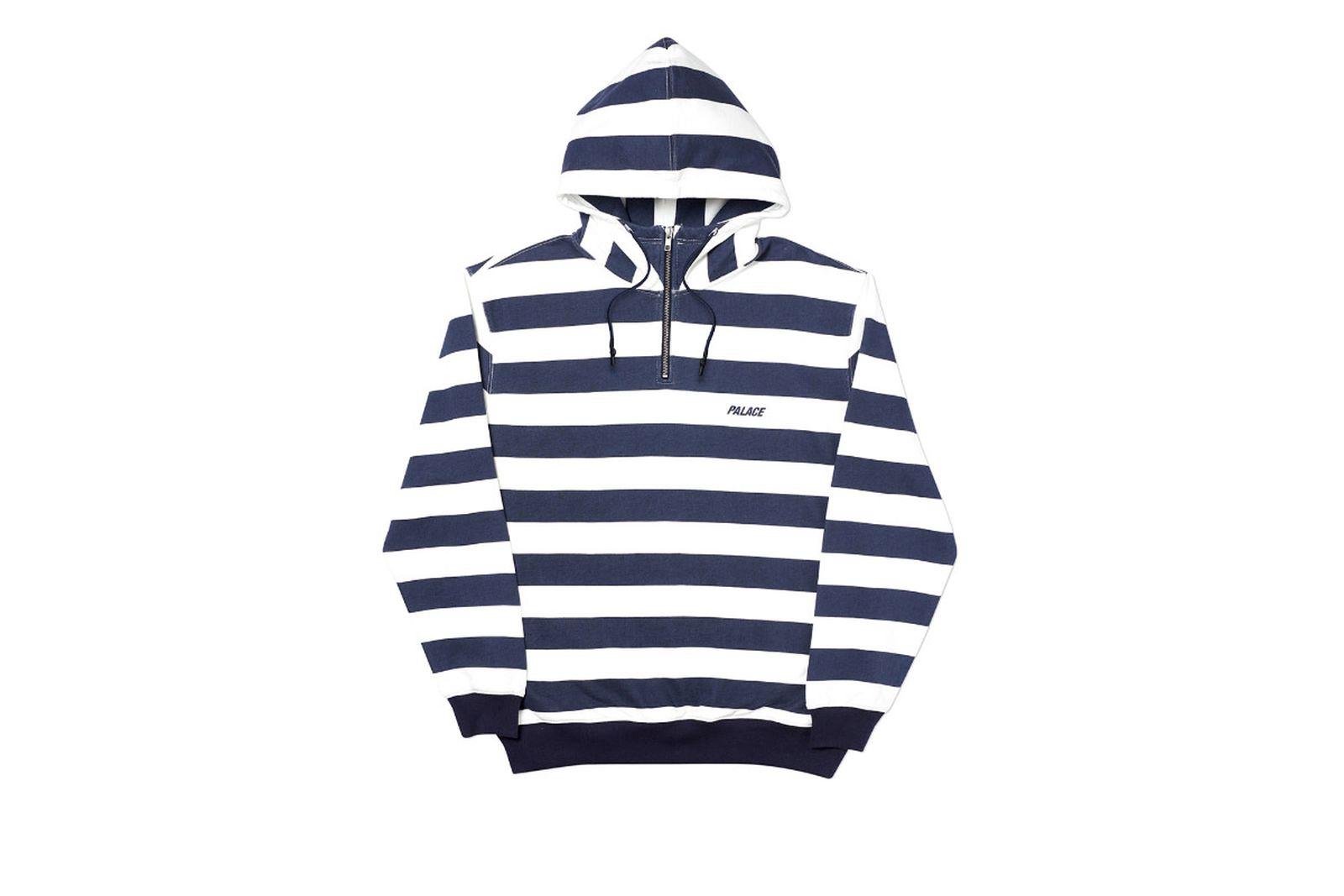 Palace 2019 Autumn Hood Tri Stripe Zip White Front
