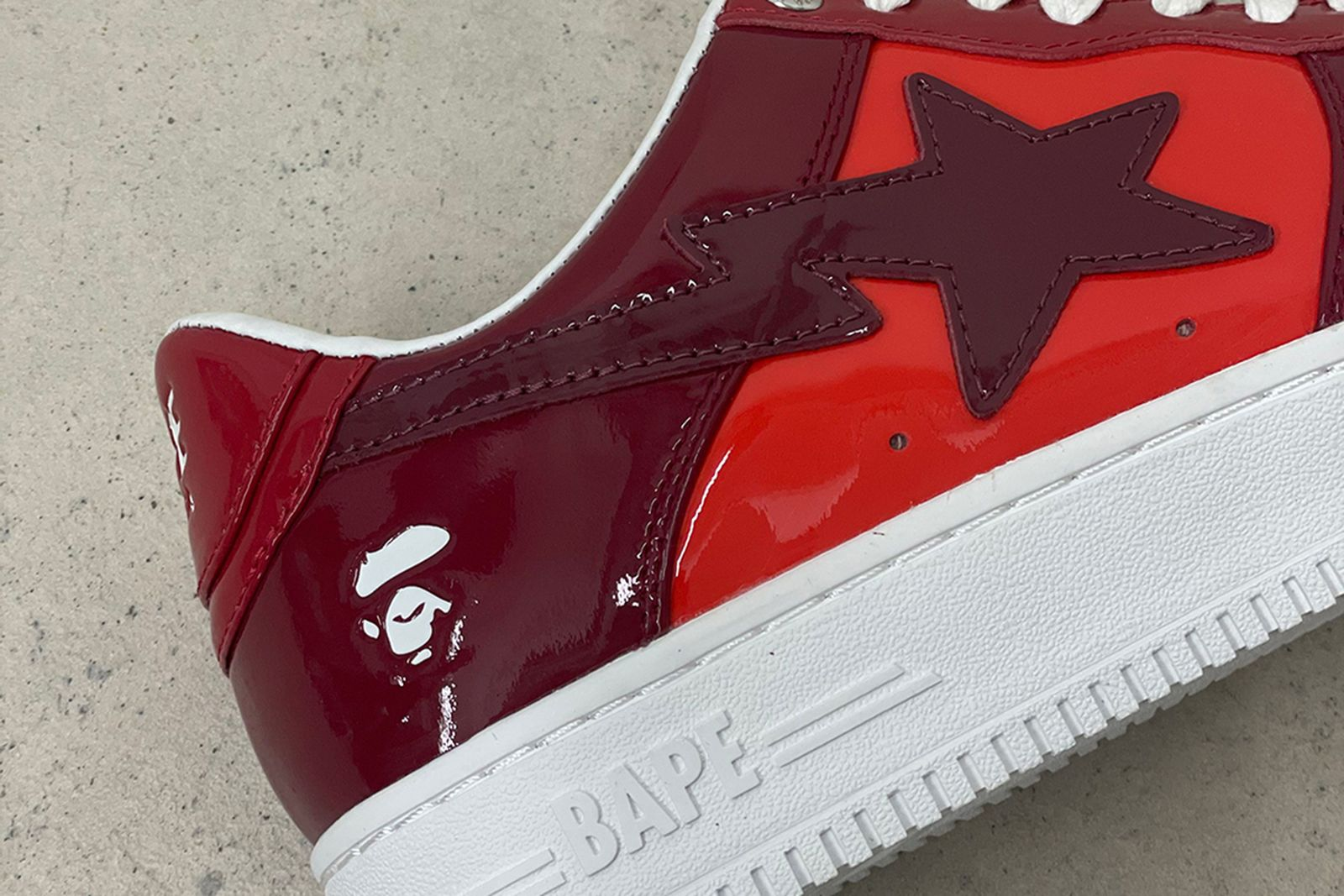 BAPE STA patent leather in red