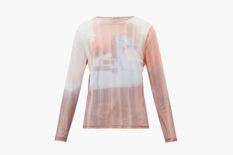 Delicate TV-Print Mesh Long-Sleeved T-shirt