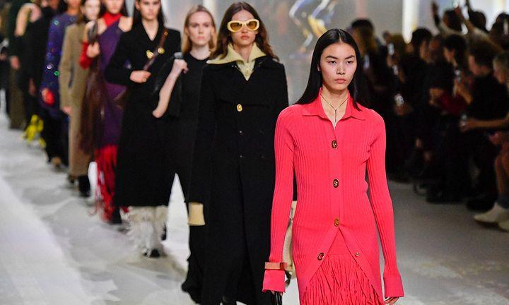 A model walks the runway during the Bottega Veneta fashion show as part of Milan Fashion Week Fall/Winter 2020-2021 on February 22, 2020 in Milan, Italy.