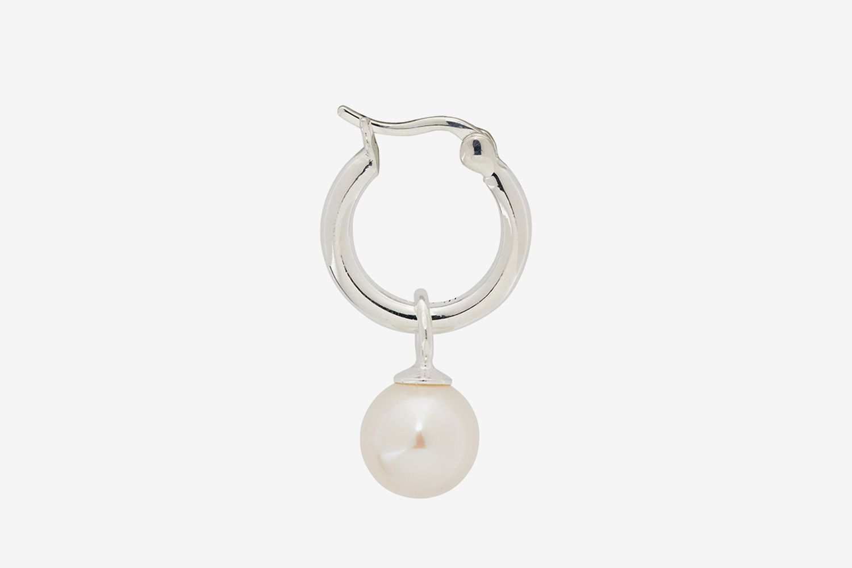 SSENSE Exclusive Single Silver Pearl Earring