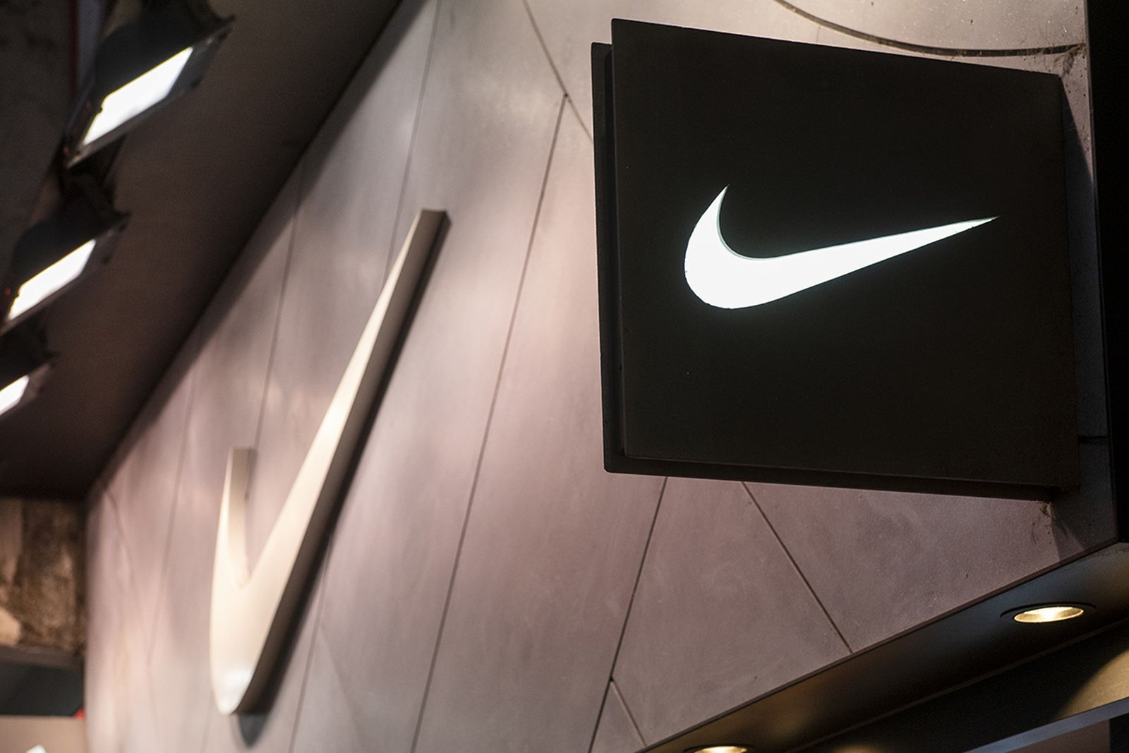 American multinational sport clothing brand Nike store and logo seen in Hong Kong