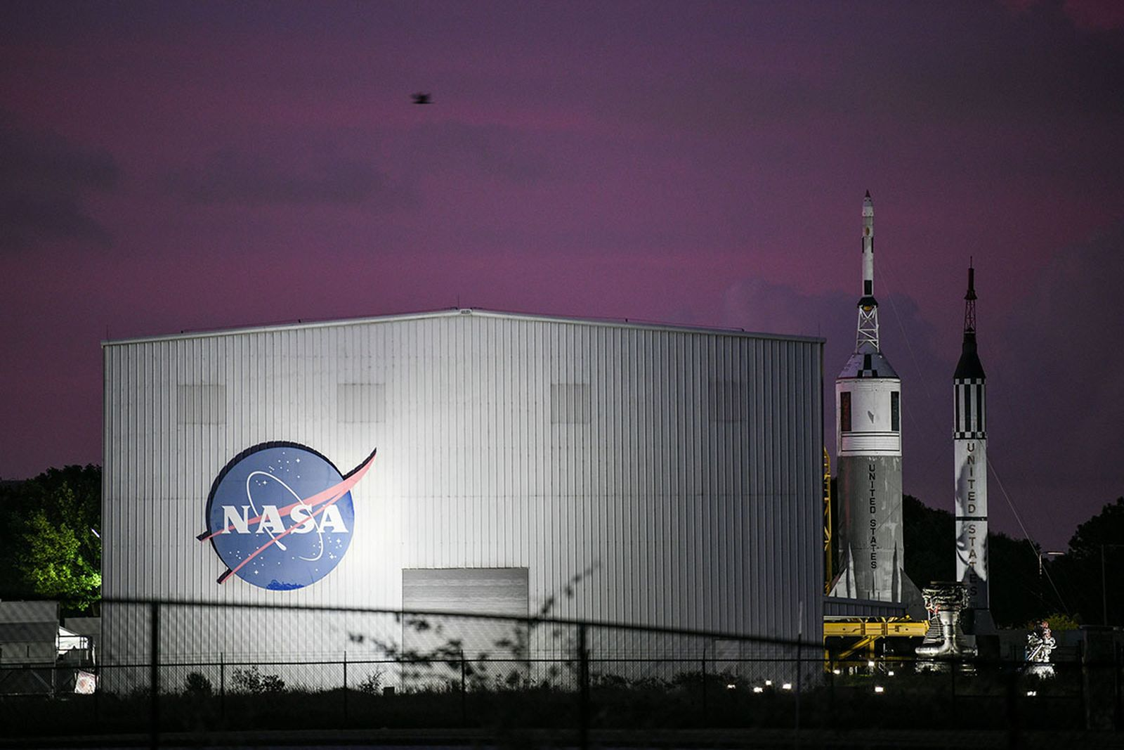 NASA's logo is seen at Rocket Park during an Apollo 11 50th anniversary celebration
