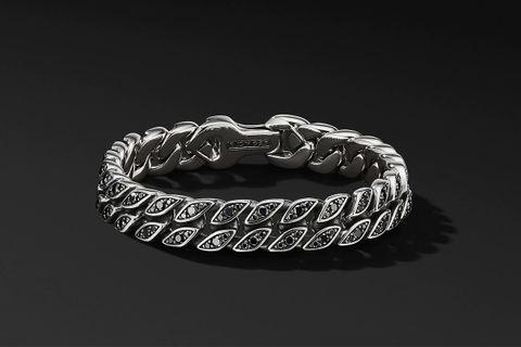Curb Chain Bracelet w/ Black Diamonds