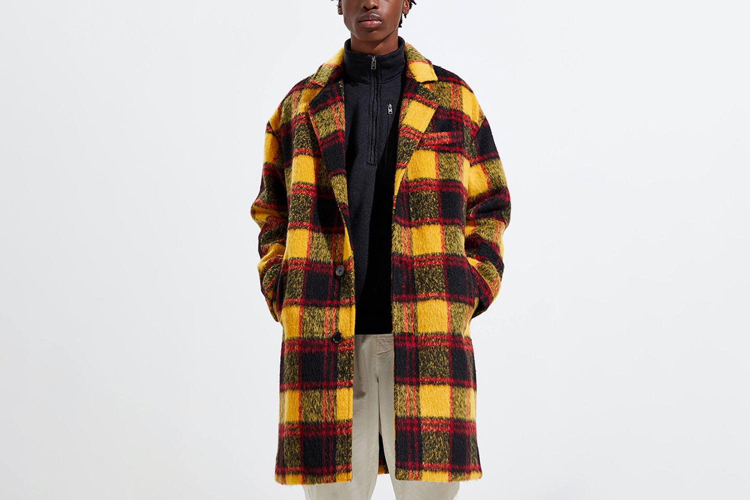 Faux Wool Plaid Topcoat