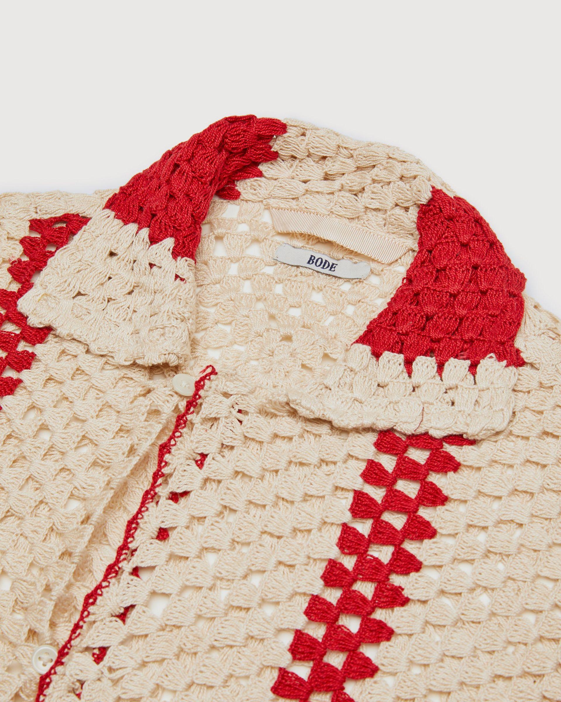 BODE - Crochet Big Top Shirt White Red - Image 4