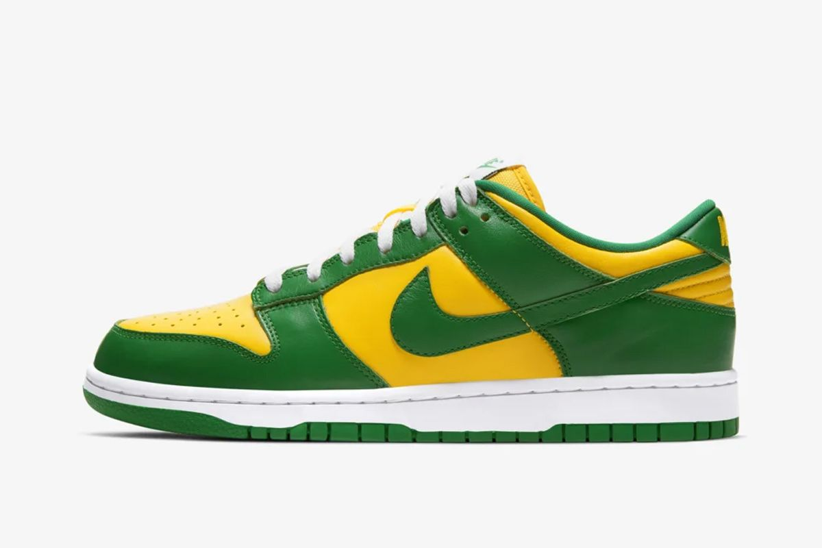 Nike SB Dunk Low Brazil yellow green and white product shot