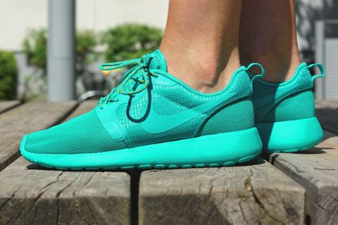 "0799f432859c Nike presents the Roshe Run Hyperfuse in a tonal ""Turbo Green"" colorway for  the ladies. Featuring a lightweight upper and cushioned midsole for support  and ..."