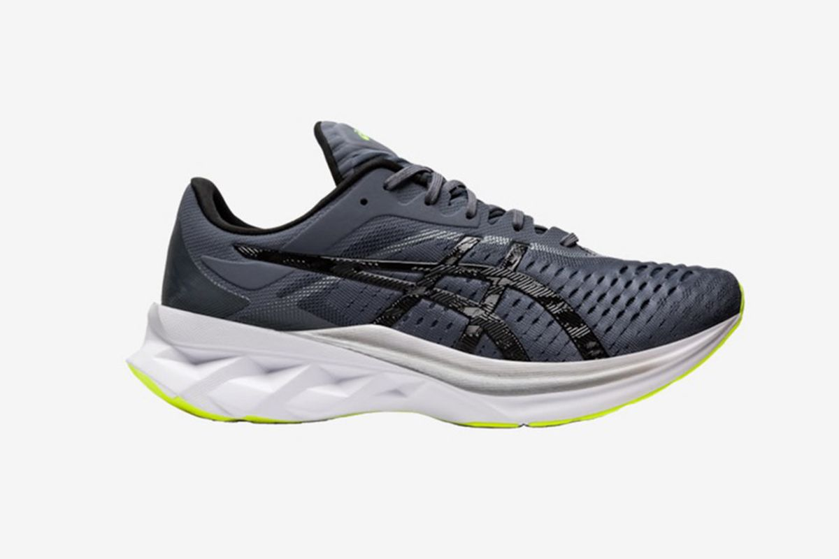 black and white asics running shoe