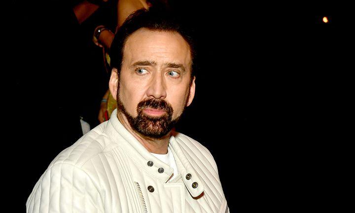 Nicolas Cage beard leather jacket