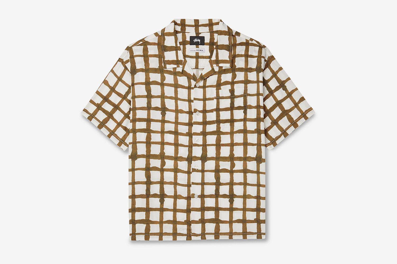 Camp-Collar Checked Woven Shirt
