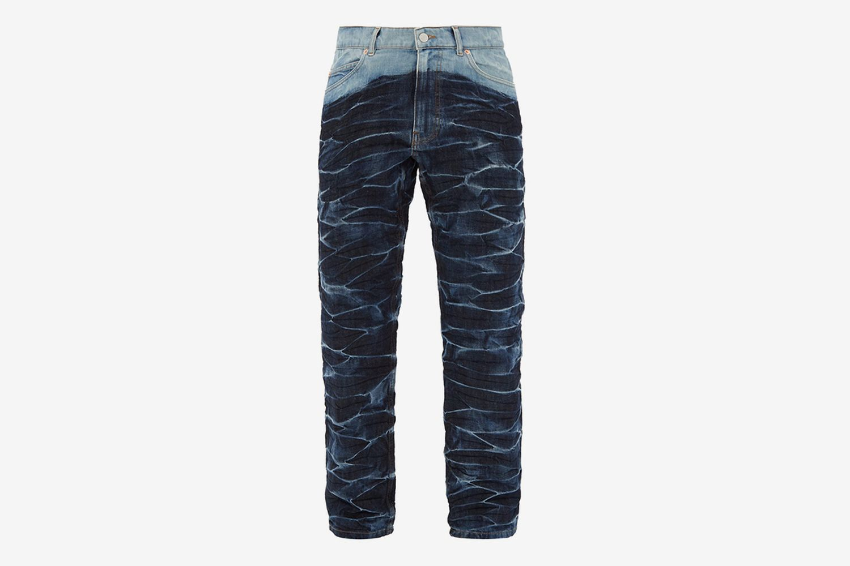 Crinkle Effect Tie-Dye Jeans
