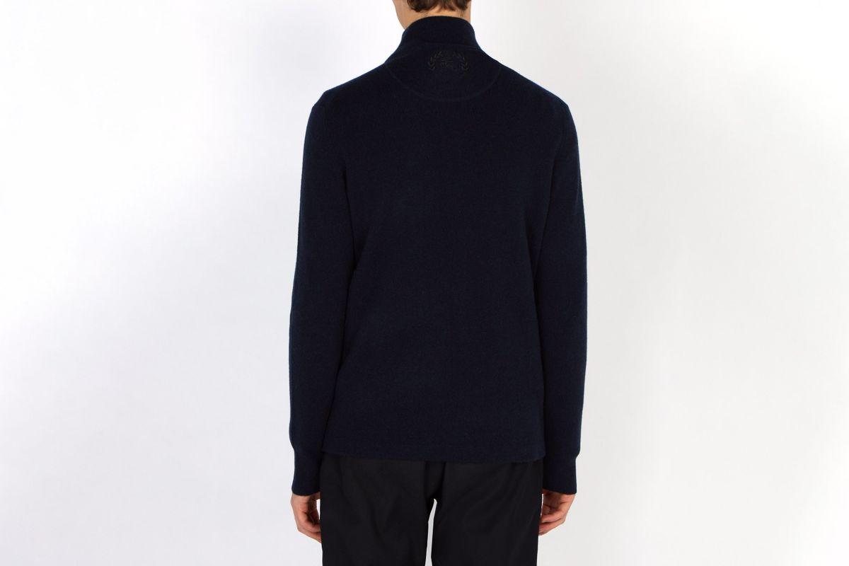 Knight-embroidered Half-zip Cashmere Sweater