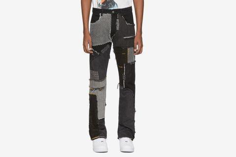 Black Denim Upcycled Patchwork Jeans