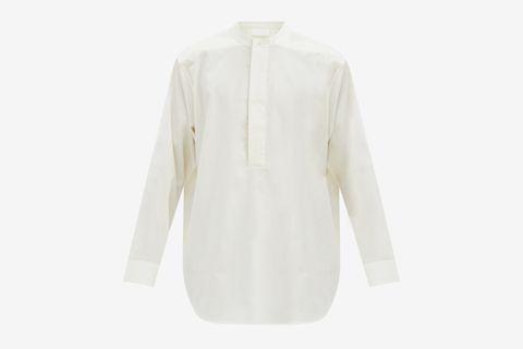 Oversized Cotton-Poplin Henley Shirt