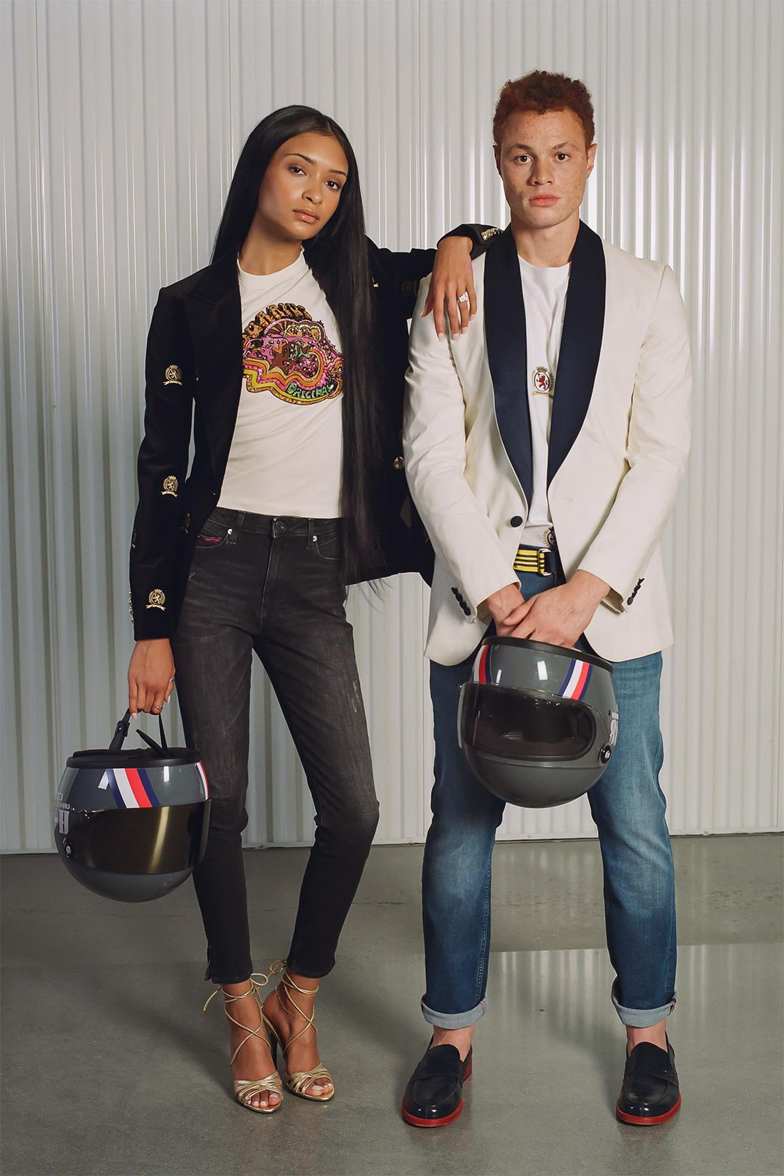 (Left) Hilfiger Collection Women's Critter Crest Blazer (Fall 2020), TommyXZendaya Capsule Collection Zodiac Graphic T-Shirt and Elevated Strappy Sandals (Spring 2019). (Right) Tommy Hilfiger Collection Men's Tuxedo Jacket (Spring 2011), Hilfiger Collection Men's All-over Crest Pocket T-Shirt (Fall 2020), Tommy Jeans Men's Slim-Fit Washed & Worn Jean (Fall 2020)