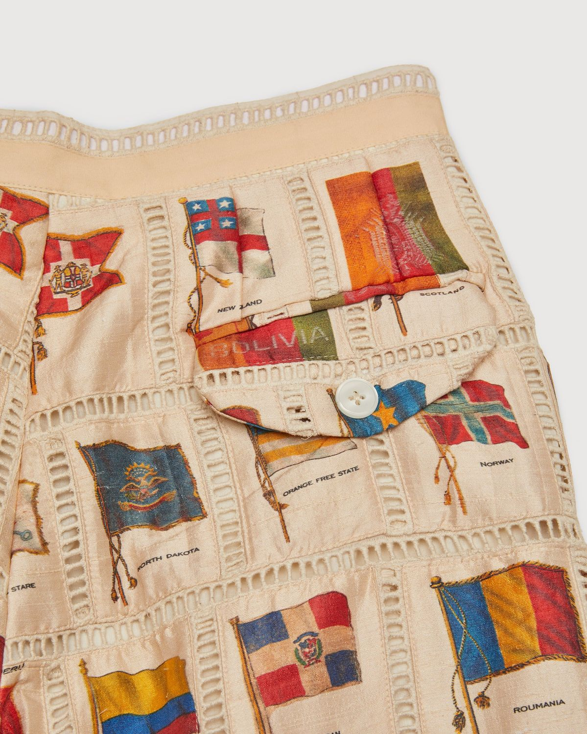 BODE - Tobacco Flag Patchwork Trousers Natural - Image 3