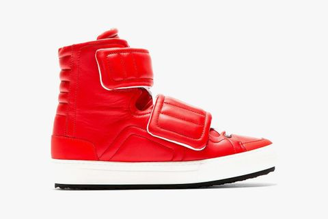 Velcro Hi Top Sneaker Red