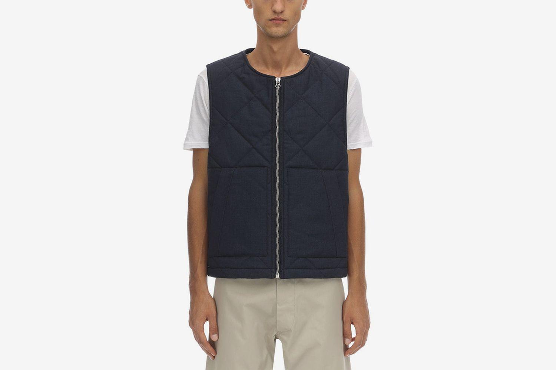 Quilted Wool Zip-up Vest