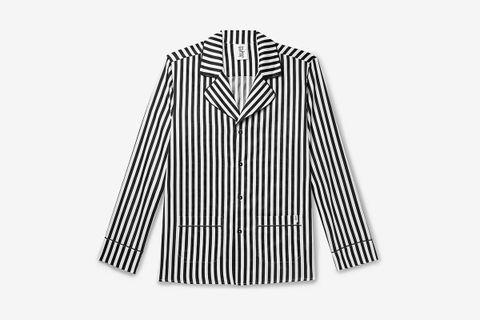Camp-Collar Piped Striped Pyjama Shirt