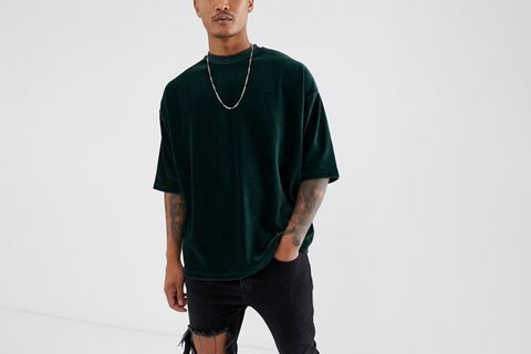 Oversized T-shirt With Half Sleeve In Ribbed Velour