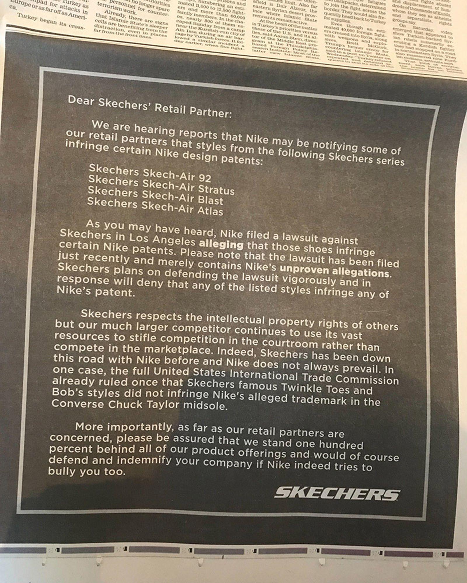 skechers nike lawsuit los angeles times ad
