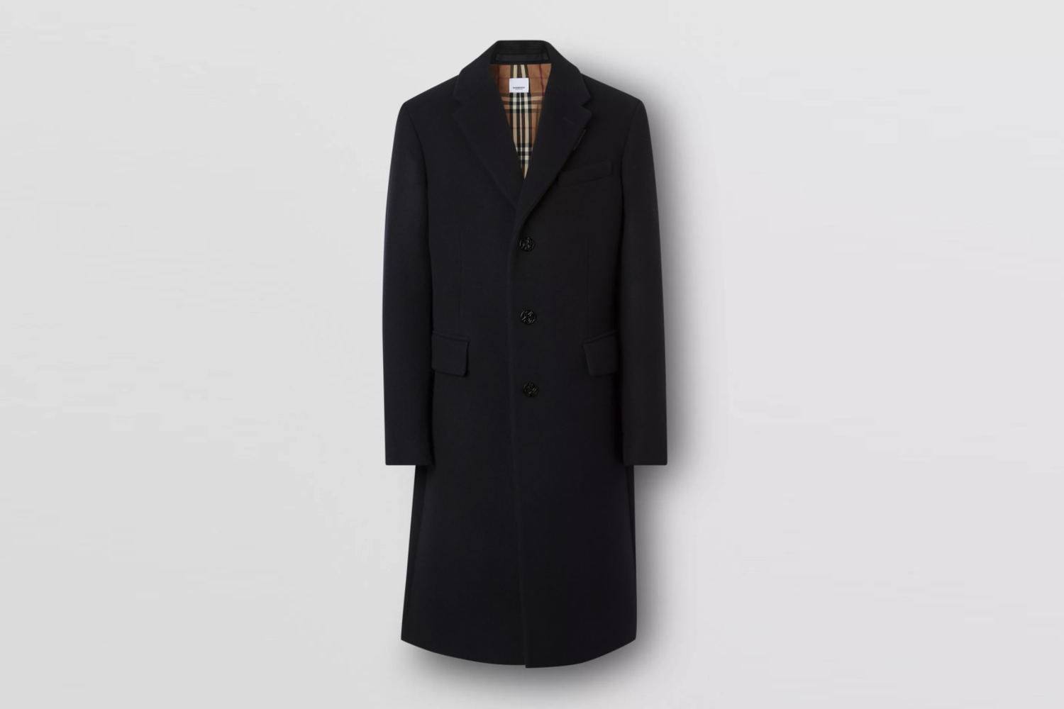 Button Detail Wool Cashmere Tailored Coat