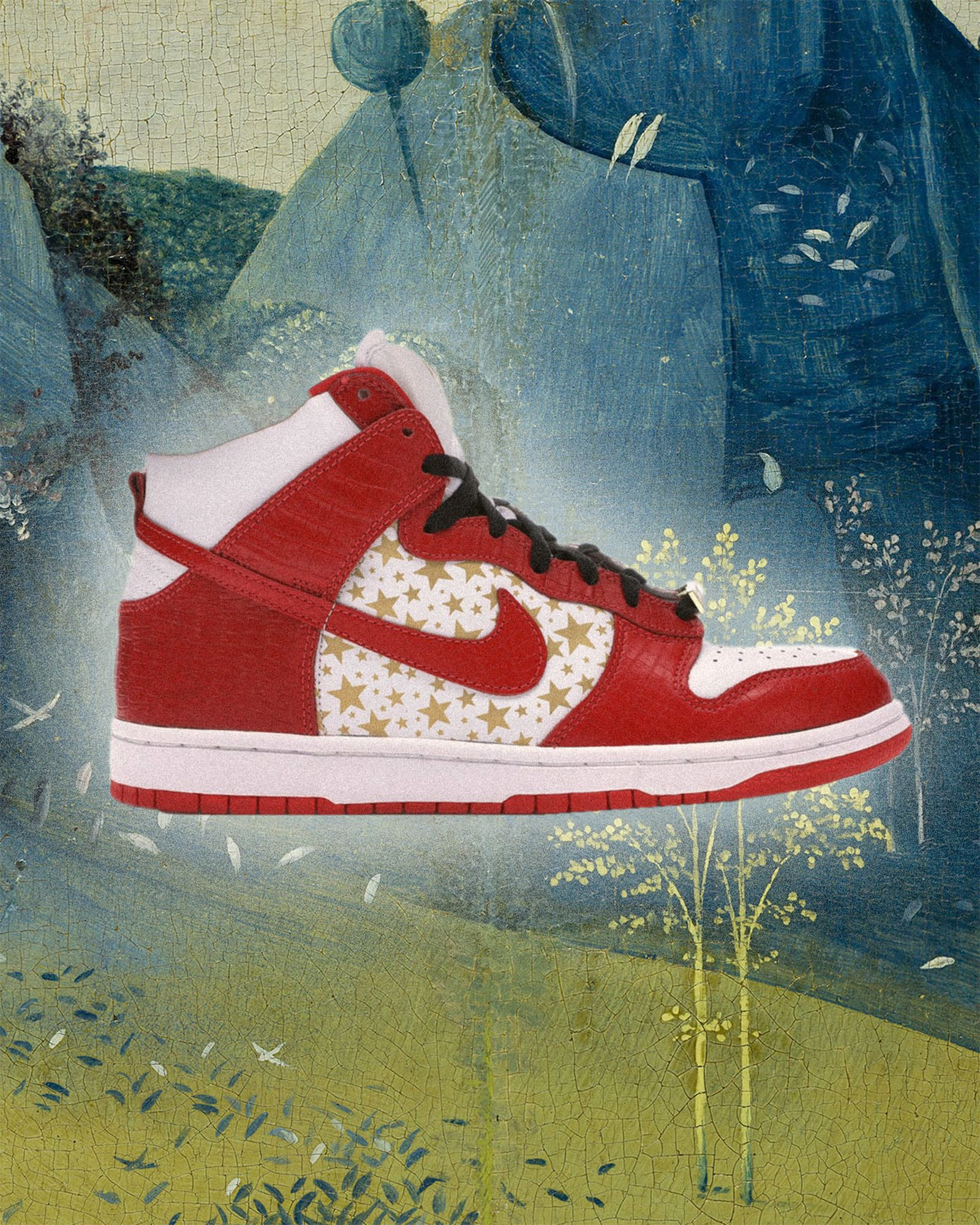 Nike-Dunk-High Pro-SB-Supreme- Red-Stars
