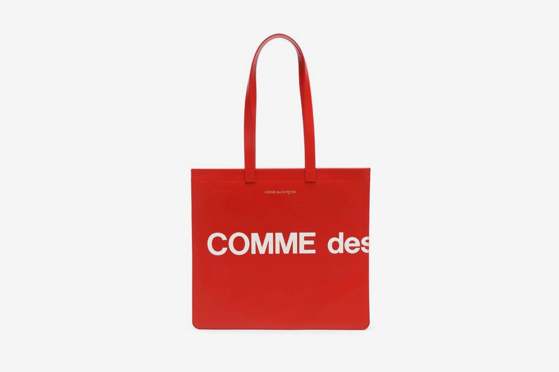 Logo-Print Leather Tote Bag