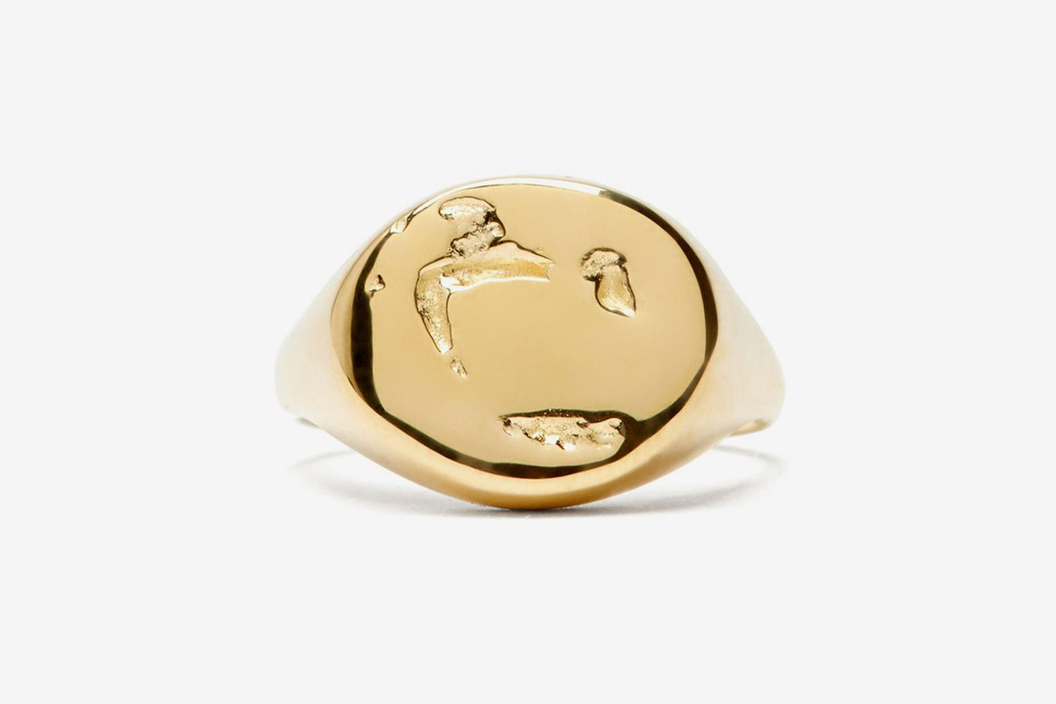 Abstract-surface Gold Signet Ring