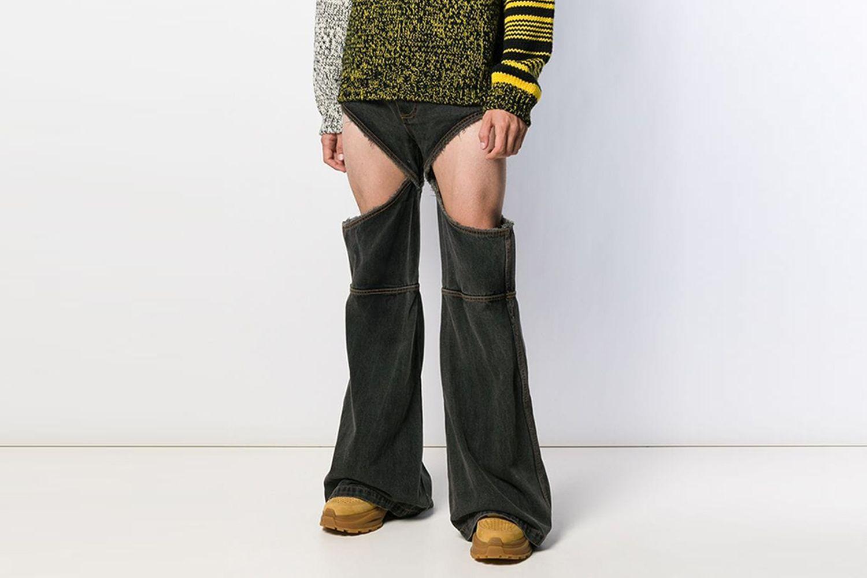 cut-out wide leg jeans