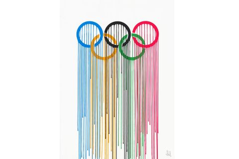 liquidated olympic rings art print by zevs