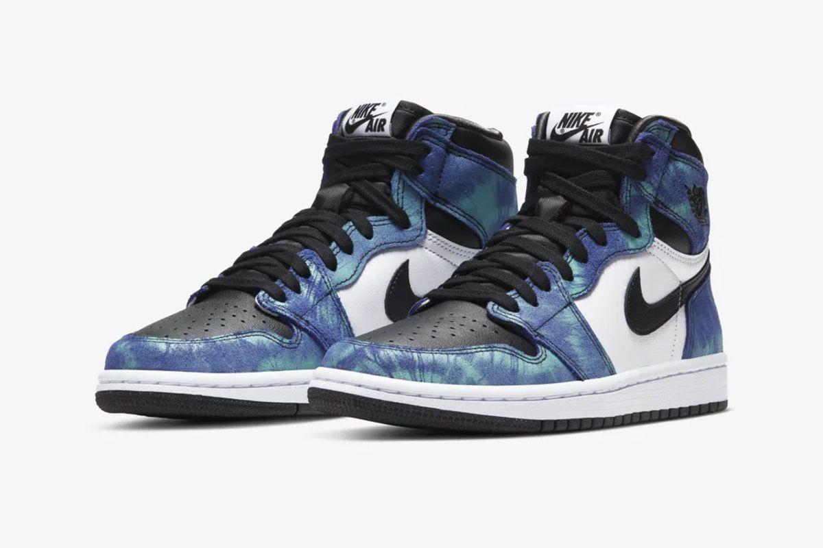 Black and blue tie-dye Nike Air Jordan 1