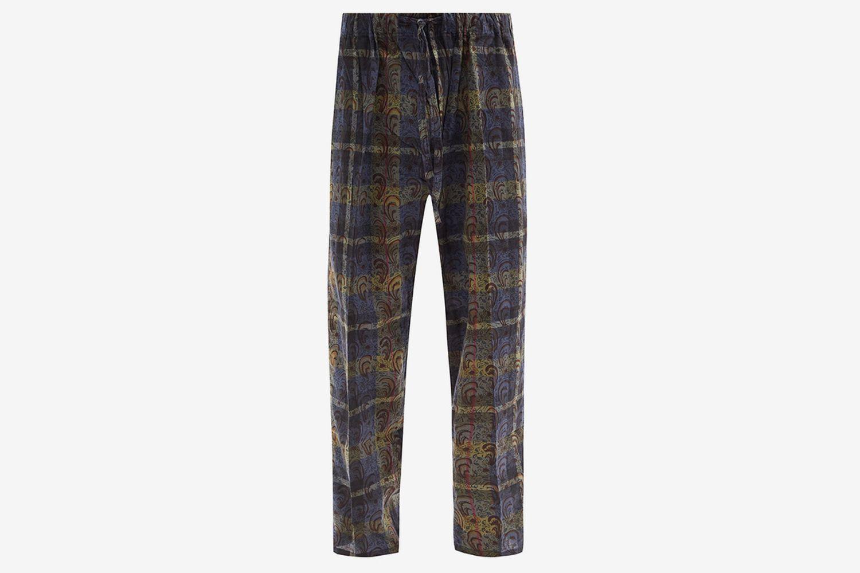 Paisley-Print Check Cotton-Canvas Suit Trousers