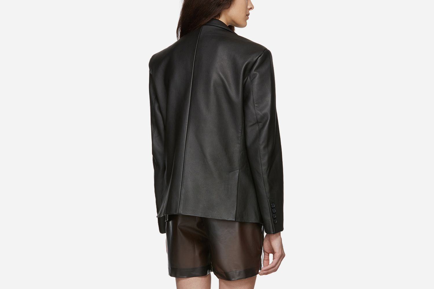 Leather Double-Breasted Blazer